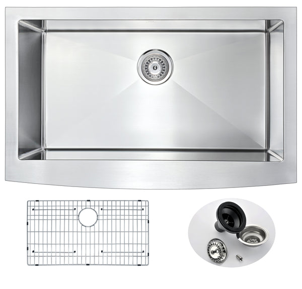 ANZZI Elysian Farmhouse Stainless Steel 36 in. Single Bowl Kitchen Sink in Brushed Satin K-AZ3620-1A