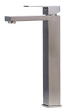 ALFI Brushed Nickel Tall Square Single Lever Bathroom Faucet, AB1129-BN