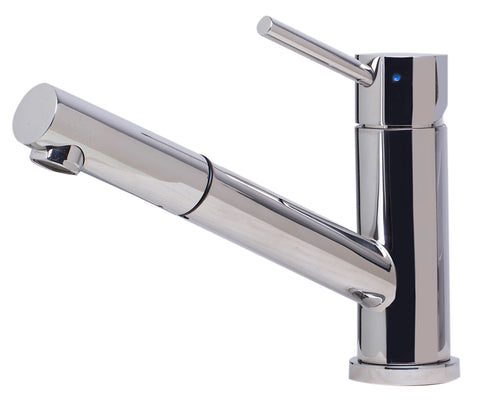 ALFI Solid Polished Stainless Steel Pull Out Single Hole Kitchen Faucet, AB2025-PSS