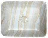 "18"" Marbled Series Ceramic Vessel Sink in Marbled Cream Finish, LS-AZ243 - The Sink Boutique"