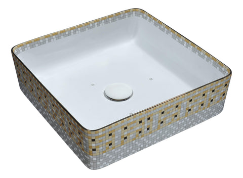 "ANZZI 16"" Byzantian Series Ceramic Vessel Sink in Mosaic Gold, Square, LS-AZ265"