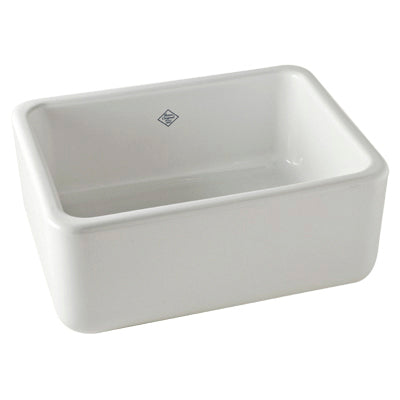 "Rohl Shaws 24"" Fireclay Single Bowl Farmhouse Apron Kitchen Sink, Parchment, RC2418PCT - The Sink Boutique"