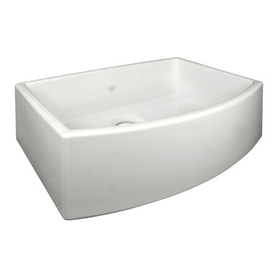 "Rohl Shaws 30"" Fireclay Single Bowl Farmhouse Curved Apron Kitchen Sink, Parchment, RC3021PCT - The Sink Boutique"