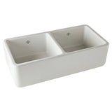 "Rohl Shaws 36"" Fireclay 50/50 Double Bowl Farmhouse Apron Kitchen Sink, Parchment, RC3719PCT - The Sink Boutique"