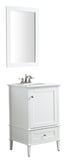 "ANZZI Alexander 21"" W x 34.4"" H Bathroom Vanity with Man Made Stone Vanity Top in White with White Basin and Mirror"