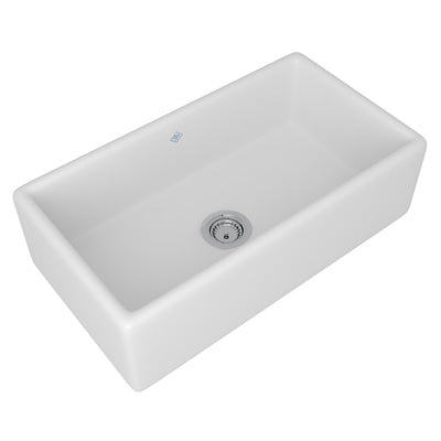 "Rohl Shaws 33"" Fireclay Single Bowl Farmhouse Apron Kitchen Sink, White, RC3318WH - The Sink Boutique"