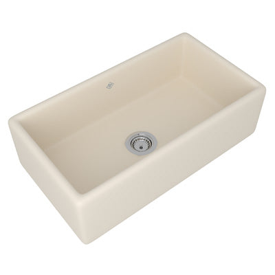 "Rohl Shaws 33"" Fireclay Single Bowl Farmhouse Apron Kitchen Sink, Parchment, RC3318PCT - The Sink Boutique"
