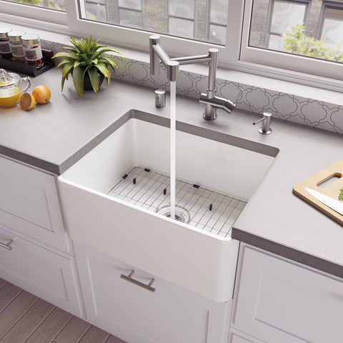 "ALFI brand 24"" Fireclay Farmhouse Sink, White, ABF2418-W"