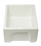 ALFI brand AB2418HS-B 24 inch Biscuit Reversible Smooth / Fluted Single Bowl Fireclay Farmhouse Sink Side