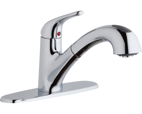 Elkay LK5000CR Everyday Single Hole Deck Mount Kitchen Faucet with Pull-out Spray Lever Handle and Optional Escutcheon Chrome
