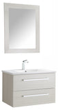 "ANZZI Conques 30"" W x 20"" H Bathroom Vanity with Ceramic Vanity Top in White with White Basin and Mirror"