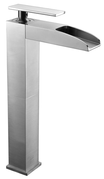 ALFI Brushed Nickel Single Hole Tall Waterfall Bathroom Faucet, AB1597-BN