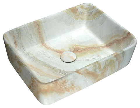"ANZZI 18"" Marbled Series Ceramic Vessel Sink in Marbled Earth Finish, LS-AZ241"