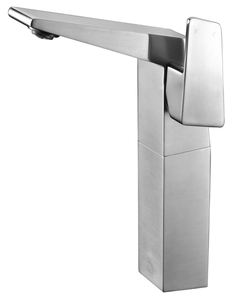 ALFI Brushed Nickel Single Hole Tall Bathroom Faucet, AB1475-BN