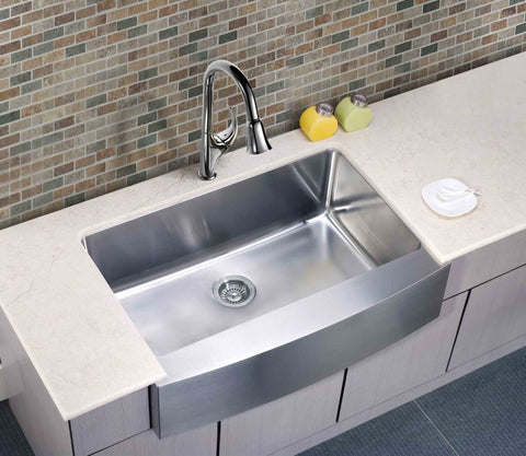 Dawn Undermount Single Bowl with Curved Apron Front Sink DAF3320C Display