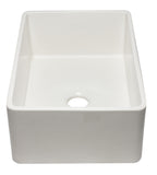 ALFI brand AB3020SB-W 30 inch White Reversible Single Fireclay Farmhouse Kitchen Sink Angled Side