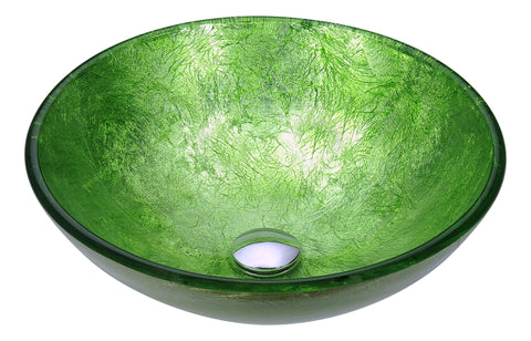 "ANZZI 16"" Posh Series Deco-Glass Vessel Sink in Golden Green, LS-AZ290"