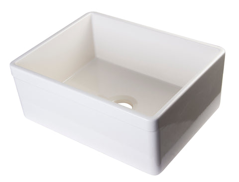 "ALFI brand AB506-B Biscuit 26"" Decorative Lip Apron Single Bowl Fireclay Farmhouse Kitchen Sink"