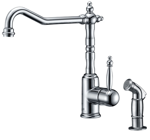 ANZZI Locke Single-Handle Standard Kitchen Faucet with Side Sprayer in Polished Chrome KF-AZ037