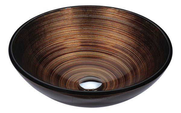 "ANZZI 16"" Posh Series Deco-Glass Vessel Sink in Radial Umber, LS-AZ284"