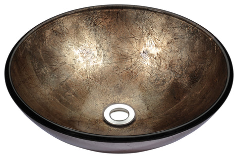 "ANZZI 16"" Stellar Series Deco-Glass Vessel Sink in Platinum Storm, LS-AZ164"