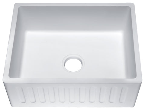 ANZZI Roine Farmhouse Reversible Apron Front Man Made Stone 24 in. Single Basin Kitchen Sink in White