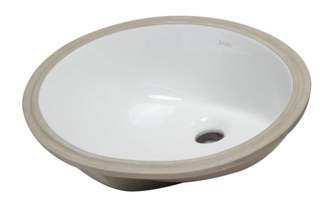 "Eago 15"" Porcelain Bathroom Sink, White, BC224"
