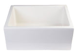 "ALFI brand AB2418SB-B  24"" Biscuit Smooth Thick Wall Fireclay Single Bowl Farmhouse Sink Angled Top"