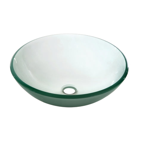 "Dawn 17"" Tempered Glass Vessel Sink, Frosted, Round, GVB84007FD"