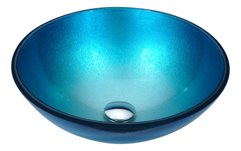 "ANZZI 16"" Posh Series Deco-Glass Vessel Sink in Silver Blue, LS-AZ282"