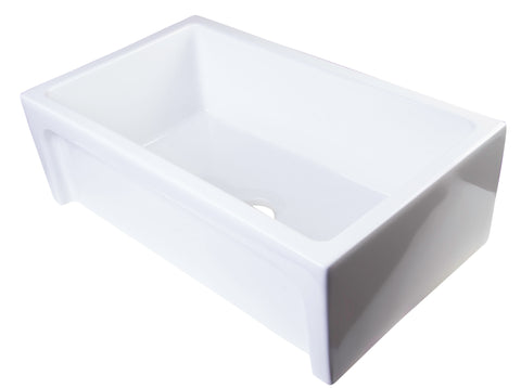 "ALFI brand AB3018ARCH-W  30"" White Arched Apron Thick Wall Fireclay Single Bowl Farmhouse Sink"