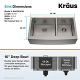 "Kraus 36"" Stainless Steel 60/40 Double Bowl Farmhouse Apron Kitchen Sink, KHF203-36"