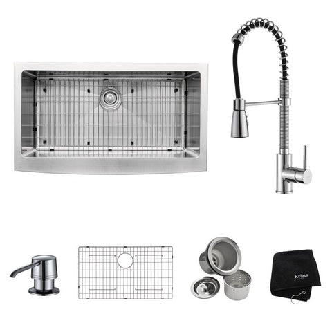 "Kraus 36"" Farmhouse Kitchen Sink with Faucet and Soap Dispenser, KHF200-36-KPF1612-KSD30 - The Sink Boutique"