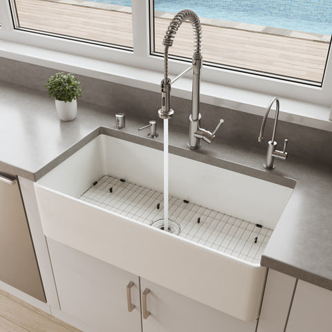 "ALFI brand 36"" Fireclay Farmhouse Sink, White, ABF3618-W"