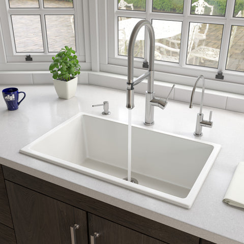 "ALFI brand 30"" Fireclay Kitchen Sink, White, AB3018UD-W"