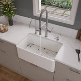 "ALFI brand 30"" Fireclay Farmhouse Sink, White, ABF3018-W"