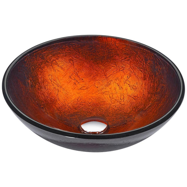 "16"" Arc Series Vessel Sink in Layered Amber, LS-AZ216 - The Sink Boutique"