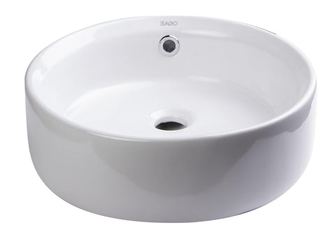 "Eago 16"" Porcelain Bathroom Sink, White, BA129"