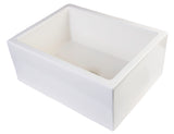 "ALFI brand AB2418SB-B  24"" Biscuit Smooth Thick Wall Fireclay Single Bowl Farmhouse Sink Angled"