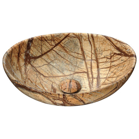 "16"" Sona Series Ceramic Vessel Sink in Marbled Adobe, LS-AZ277 - The Sink Boutique"