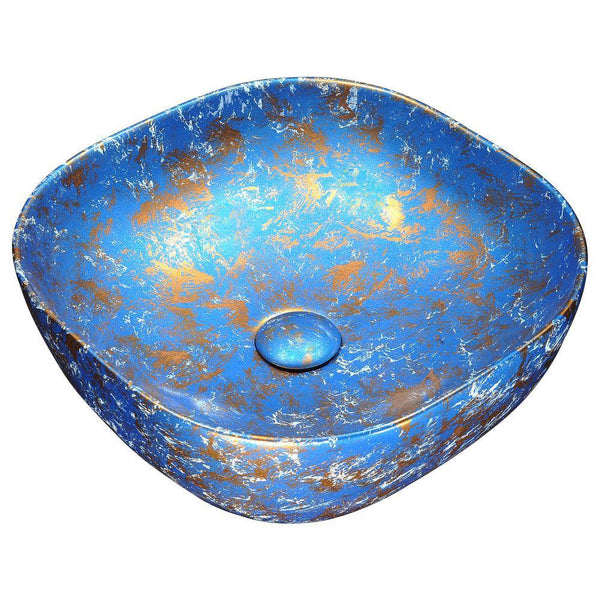 "16"" Marbled Series Ceramic Vessel Sink in Marbled Tulip Finish, LS-AZ253 - The Sink Boutique"