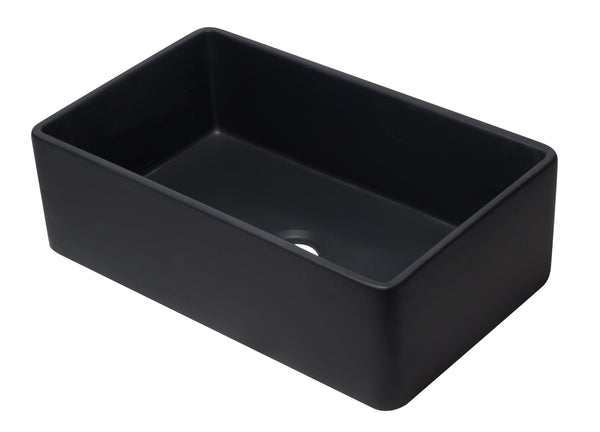 ALFI brand AB3320SB-BM 33 inch Black Reversible Single Fireclay Farmhouse Kitchen Sink