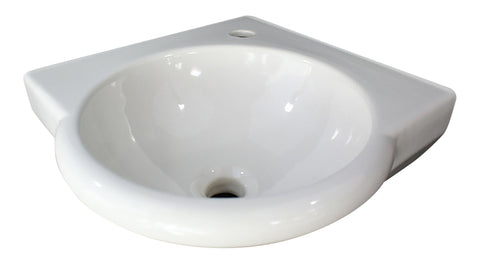 "ALFI White 15"" Round Corner Wall Mounted Porcelain Bathroom Sink, AB104"