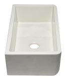 "ALFI Brand AB3318SB-B 33"" Biscuit Smooth Apron Solid Thick Wall Fireclay Single Bowl Farmhouse Sink Angled Side"