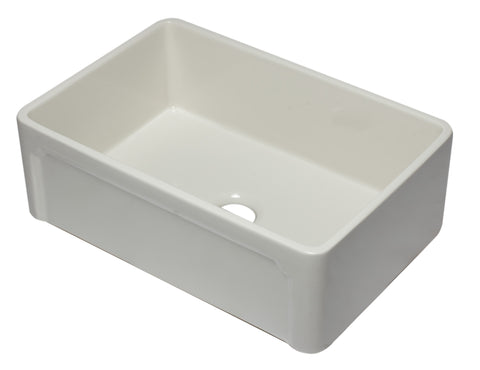 "ALFI 30"" Single Bowl Fireclay Farmhouse Apron Sink, Biscuit, AB3020SB-B"