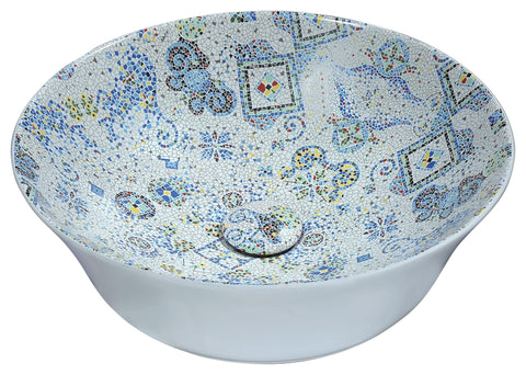 "ANZZI 16"" Byzantian Series Ceramic Vessel Sink in Mosaic White, LS-AZ260"