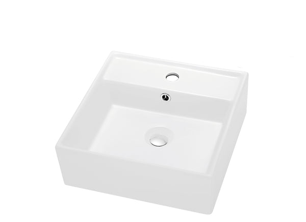 "Dawn 16"" Ceramic Vessel Sink, White, Square, CASN109019"