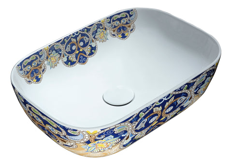 "ANZZI 17"" Byzantian Series Ceramic Vessel Sink in Byzantine Mosaic Finish, LS-AZ249"