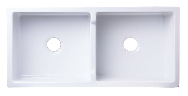 "ALFI brand AB3918DB-W 39"" White Smooth Apron Thick Wall Fireclay Double Bowl Farm Sink - The Sink Boutique"