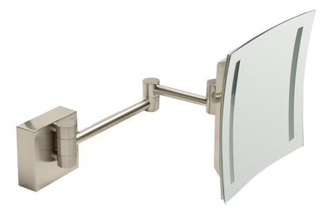 "ALFI brandABM8WLED-BN Brushed Nickel Wall Mount Square 8"" 5x Magnifying Cosmetic Mirror with Light"